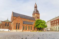 Riga Cathedral against the background of the old city, Latvia.  royalty free stock photo