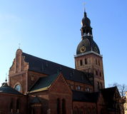 Riga cathedral. Is the Evangelical Lutheran cathedral in Riga, Latvia. It is the seat of the Archbishop of Riga stock images