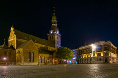 Riga cathedral illuminated at  night Stock Image