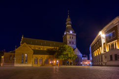 Riga cathedral illuminated at night stock photos