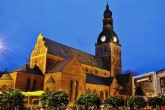 Riga Cathedral. Riga Lutheran Cathdral at night time: Latvia Royalty Free Stock Photo