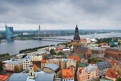 Riga center with Daugava river Stock Image