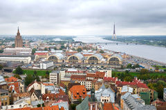 Riga center with Daugava Stock Photos