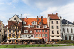 Riga central square. Old houses on the central square in Riga, Latvia royalty free stock images