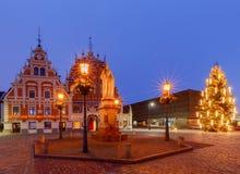 riga Choinka przy urzędu miasta kwadratem Obrazy Royalty Free
