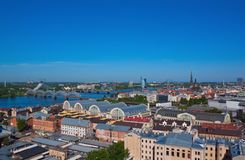 Riga city aerial view Royalty Free Stock Photos