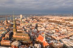 Riga city aerial winter day view during Christmas stock image