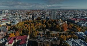 Riga city Autumn buildings living houses Drone flight sunny day. Autumn buildings in the Town Drone flight houses blocks of flats, sunshine flight stock video footage