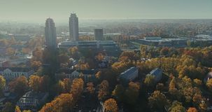 Riga city Autumn buildings living houses Drone Time-lapse. Autumn buildings in the Town Drone Time-lapse houses blocks of flats stock footage