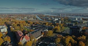 Riga city Autumn buildings living houses Drone Time-lapse. Autumn buildings in the Town Drone Time-lapse houses blocks of flats stock video footage