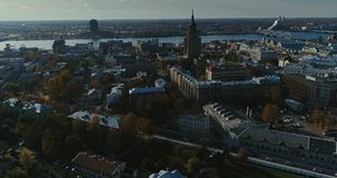 Riga city Autumn buildings living houses Drone Time-lapse sunny day. Autumn buildings in the Town Drone Time-lapse houses blocks of flats stock video