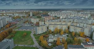Riga city Autumn buildings living houses Drone Time-lapse. Autumn buildings in the Town Drone Time-lapse living houses blocks of flats stock video footage