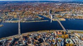 Riga city Autumn sunrise buildings living houses and Daugava river Royalty Free Stock Photos