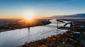 Riga city Autumn sunrise buildings living houses Drone near Daugava river Royalty Free Stock Photography