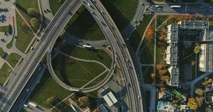 Bridge Viaduct road traffic machine Drone fast time cars in motion. Riga city drone flight above bridge with cars frafics builders in process stock video