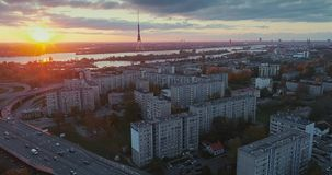 Bridge Viaduct road traffic machine Drone time-lapse. Riga city drone-lapse bridge flight with cars bridge sunshine stock footage