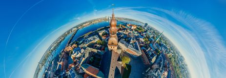 Riga City Dome church Old Town Monument drone 360 vr view. Riga city Drone photo from above Old Town Dome church, VR camera Sphere planet, virtual reality stock images