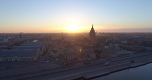 Riga city and evening time Old town Riga Drone flight over Roads and Market. In capital center stock video