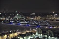 Riga city night drone flight. Riga city night lights drone flight winter royalty free stock photo