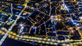 Riga city Night time bridge Autumn Drone flight stock photos