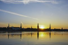 Riga city panaorama view. At morning sunrise Royalty Free Stock Images