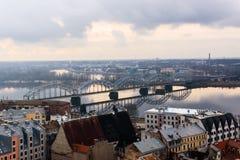 Riga city panorama. Riga is capital city of Latvia. stock photo