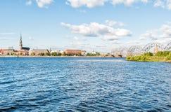 Riga city and Railway bridge view, Latvia Stock Photos