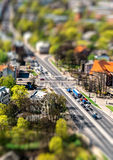 Riga city road with tilt-shift effect Royalty Free Stock Photo