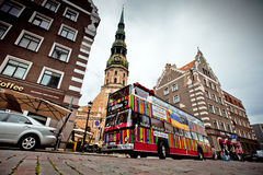 Riga City Sightseeing tour bus Stock Photo