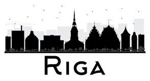 Riga City skyline black and white silhouette. Royalty Free Stock Images