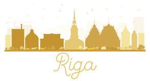 Riga City skyline golden silhouette. Stock Images