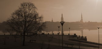 Riga City View Before Sunrise Royalty Free Stock Images