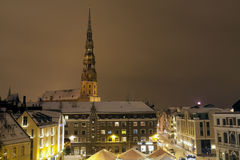 Riga cityscape at night. In Latvia, Eastern Europe Royalty Free Stock Photo