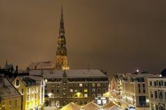 Riga cityscape på natten Royaltyfri Foto