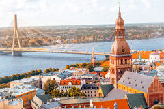 Riga cityscape view stock photo
