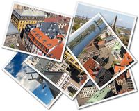 Riga Collage. Collage of photos of Riga Latvia isolated on the white background Stock Photos