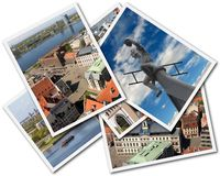 Riga Collage. Collage of photos of Riga Latvia isolated on the white background Royalty Free Stock Image