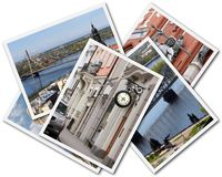 Riga Collage. Collage of photos of Riga Latvia isolated on the white background Royalty Free Stock Photography