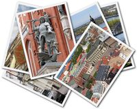 Riga Collage. Collage of photos of Riga Latvia isolated on the white background Stock Image