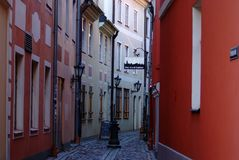 Riga, the color of old streets royalty free stock photography
