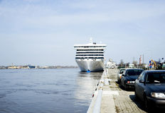 Riga. The cruise liner in port. stock photo