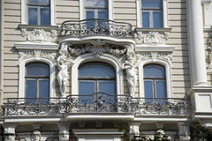 Riga. Decorating of a facade of the building in th Royalty Free Stock Images