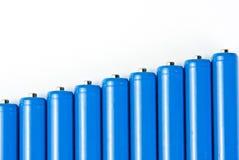Riga delle batterie blu Fotografie Stock Libere da Diritti