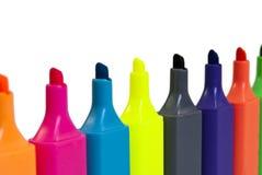 Riga delle penne del Highlighter Immagine Stock