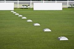 Riga delle sfere di pratica, schede in bianco del contrassegno Fotografia Stock