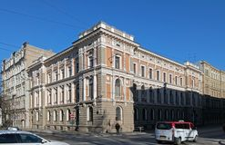 Riga den andra byggnaden av National Bank, detaljer Arkivbilder