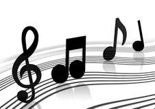 Riga di flusso della nota di musica Immagine Stock Libera da Diritti