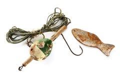 Riga di pesca dell'annata ed amo arrugginito Fotografie Stock Libere da Diritti