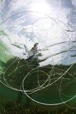 Riga di pesca Underwater Immagini Stock Libere da Diritti
