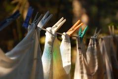 Riga di secchezza della lavanderia Fotografia Stock Libera da Diritti
